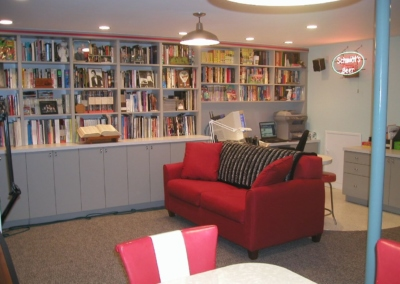 Basement Home Theater Finished Basement Bookshelves Shelf Office Film