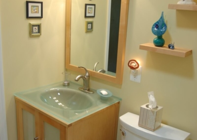 Design Ponte Vedra Guest Bathroom, Design and Remodeling, Glass Sink, Corner Shower Lighting