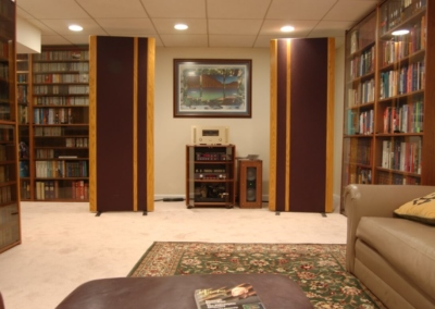 Basement Home Theater Bookshelves Shelf Music Speakers Classical Sound