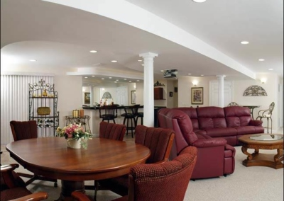 Ponte Vedra Basement Home Theater Finished Basement Bar Countelever Counter Granite Rope Lighting