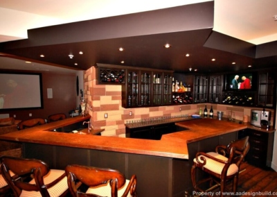 Design Build Remodeling Finished basement Home Theater Bar English Pub
