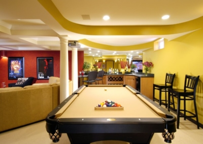 Basement Bar Pool Granite Color Lighting Projector Coffered Ceiling
