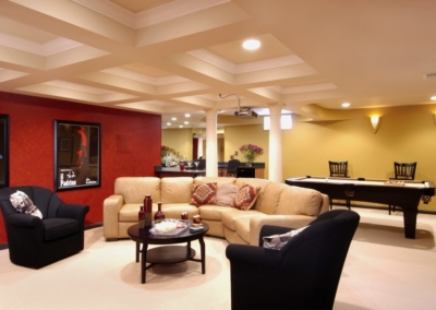 Home_Theater Basement Bar Pool Granite Color Lighting Projector Coffered Ceiling