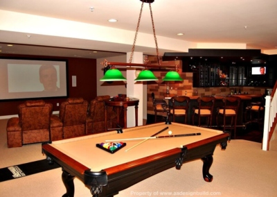 Basement Home Theater Bar Hammered Copper Counter Top Faux Stone Wall Design